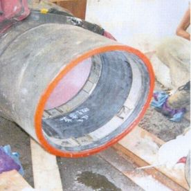 Fig. 17, DN 300 steel, liner-end seal, photo provided by our customer